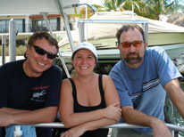 three more amigos on the dive boat in Key Largo