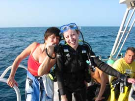 Mother tests Scuba